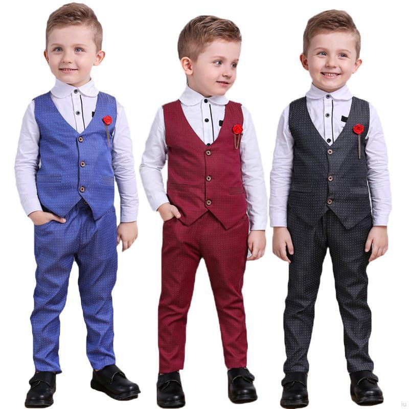 外貿爆款潮童男童兒童紳士馬甲襯衣褲子帥氣三件套【IU貝嬰屋】