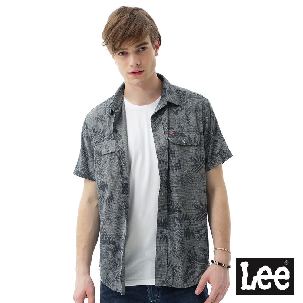 Lee 植物印花短袖襯衫 男 灰 Mainline