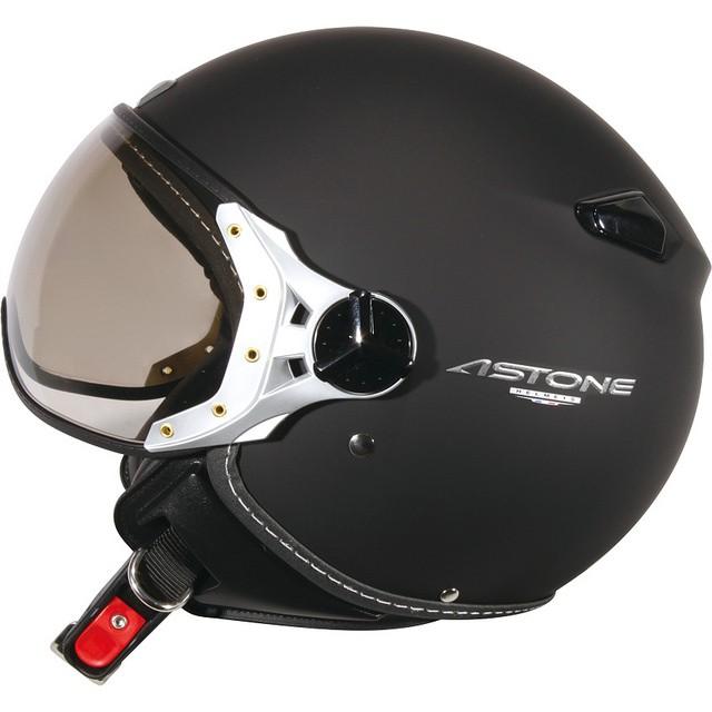 【ASTONE】KSR 素色(黑) 3/4 半罩 安全帽 飛行帽 W造型鏡片 藍芽耳機孔 內襯可拆洗