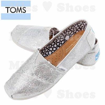 Miss ♥ Shoes - 正品美國品牌TOMS帆布鞋Glitters亮片款【銀】現貨+預購 秋冬 懶人鞋