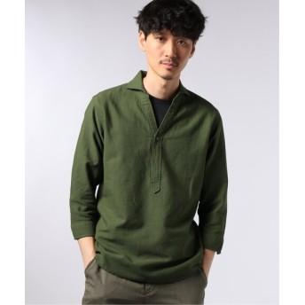 EDIFICE コットン/リネン カラミ カッタウェイカラー 7分袖 シャツ カーキ S