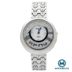 Mirabelle 漫步星砂 羅馬鏤空水鑽鍊錶 銀