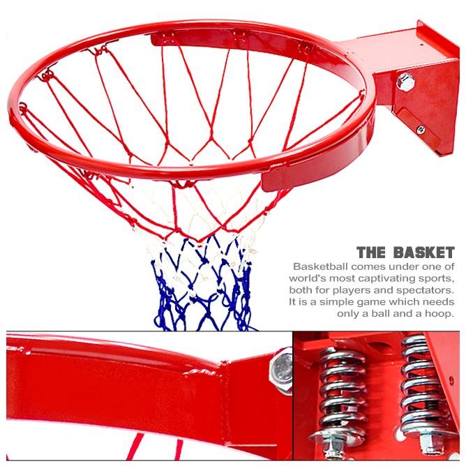 台灣製造_強化雙彈簧籃球框架(含籃球網)P116-1886D減震金屬籃框耐用籃球架子籃網避震籃架不含籃球板打籃球