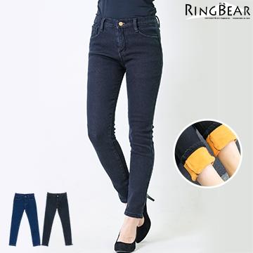 刷毛牛仔褲--提臀顯瘦禦寒保暖前後雙口袋窄管撞色內刷毛牛仔長褲(黑.藍S-5L)-N89熊衣褲語