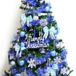 摩達客 超級幸福12尺/12呎(360cm)一般型裝飾綠聖誕樹 (+藍銀色系配件組)(不含燈)本島免運費