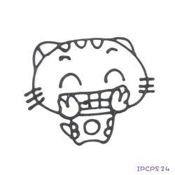 【愛玩色創意館】MIT兒童無毒彩繪玻璃貼  -配件 小張圖卡- 開心貓 IPCPS24