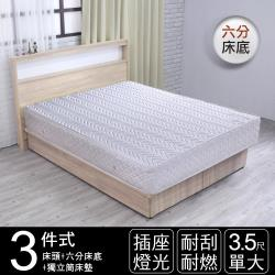 IHouse 山田日式插座燈光房間三件組 獨立筒床墊+床頭+六分床底 單大3.5尺