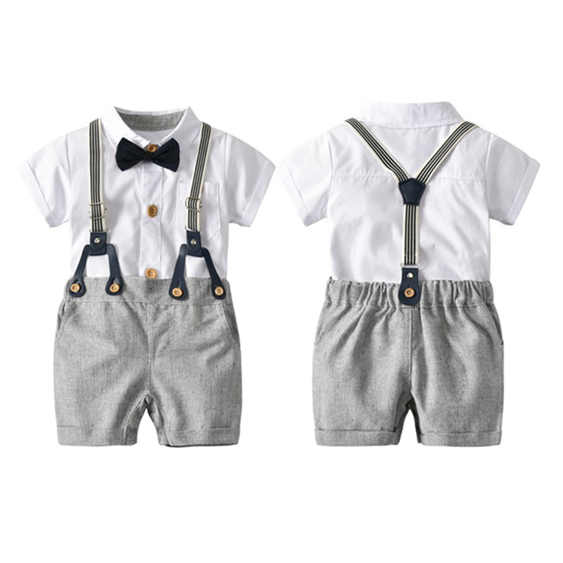 童哈衣套裝歐美男童白色哈衣背帶褲領結紳士三件套【IU貝嬰屋】