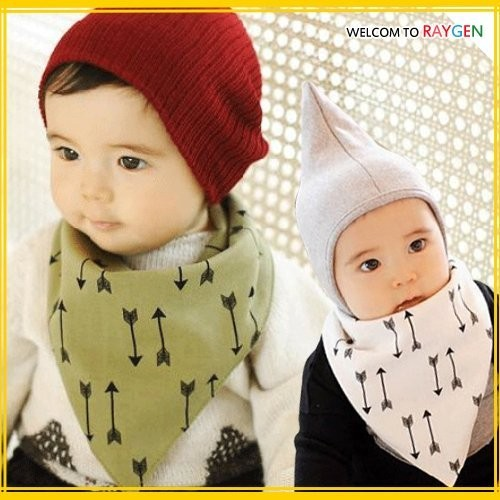 寶寶卡通箭頭純棉防水雙面口水巾 三角巾