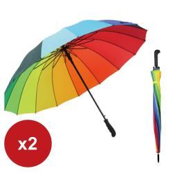 超值2入 16骨彩虹長柄傘 超大晴雨兩傘