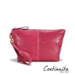 【Continuita 康堤尼】真皮實感化妝包-黑色/桃色/紫色/綠色/銀色