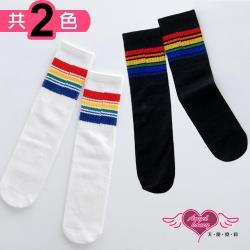 天使霓裳 活力彩紅條紋 兒童中筒襪(共2色S~L) RW170919