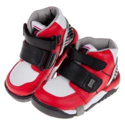 《布布童鞋》Moonstar日本Carrot紅黑色兒童機能矯健鞋(15~21公分) [ I9F402A ]