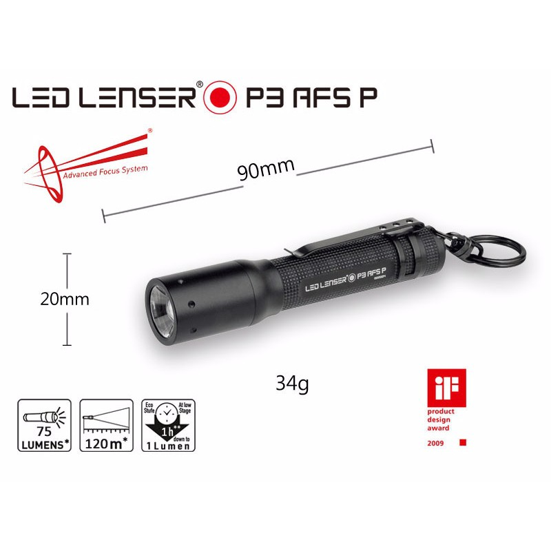 【LED LENSER 德國】鑰匙圈系列 P3 伸縮調焦手電筒 75流明 黑【阿爾卑斯戶外】