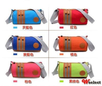~Wselect 滿699免運~可愛糖果色馬卡龍帆布包側背包休閒斜背包單肩包貼身隨身旅行包