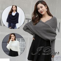 【I.Dear】韓國秋冬氣質淑女針織毛線多用途帶袖毛衣圍巾斗篷(4色)現貨
