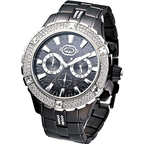 【MARC ECKO】手錶 E24502G1酷炫大錶徑IP黑晶鑽計時腕錶★保固一年,㊣超值搶購