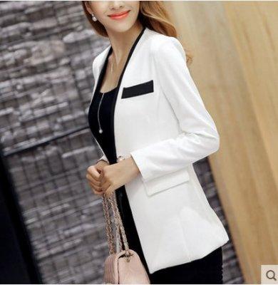 彩黛妃2019春夏新款韓版女裝小西裝女外套時尚氣質長袖西服上衣女(黑 S-XXL)