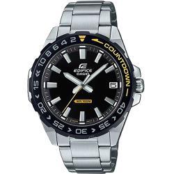 【CASIO】EDIFICE 跳色齒輪不鏽鋼錶-黑X黃(EFV-120DB-1A)
