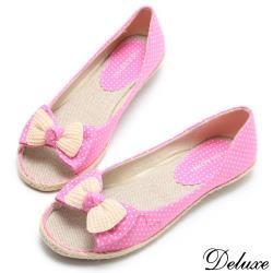 【Deluxe】點點花布蝴蝶結麻繩編織平底鞋(藍.紅)-526-123B