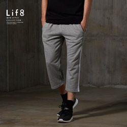 Life8-Sport 透氣細絨 側邊壓線九分褲-14015-麻花灰色