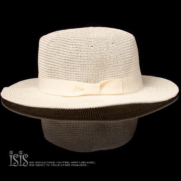 KURO-SHOP夏日潮流風 -白色 紙草可收式 寬帽沿 紳士帽