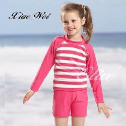 泳之美品牌 時尚女童二件式長袖泳裝 NO.2897