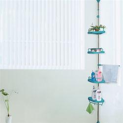 【LIFECODE】頂天立地浴室置物架(不鏽鋼複合管)+4置物盤+1毛巾桿 -蒂芬妮藍 【贈送-廚房防污貼紙】-行動