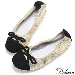 【Deluxe】純羊皮繽紛金色編織娃娃鞋(金)-6192-5B