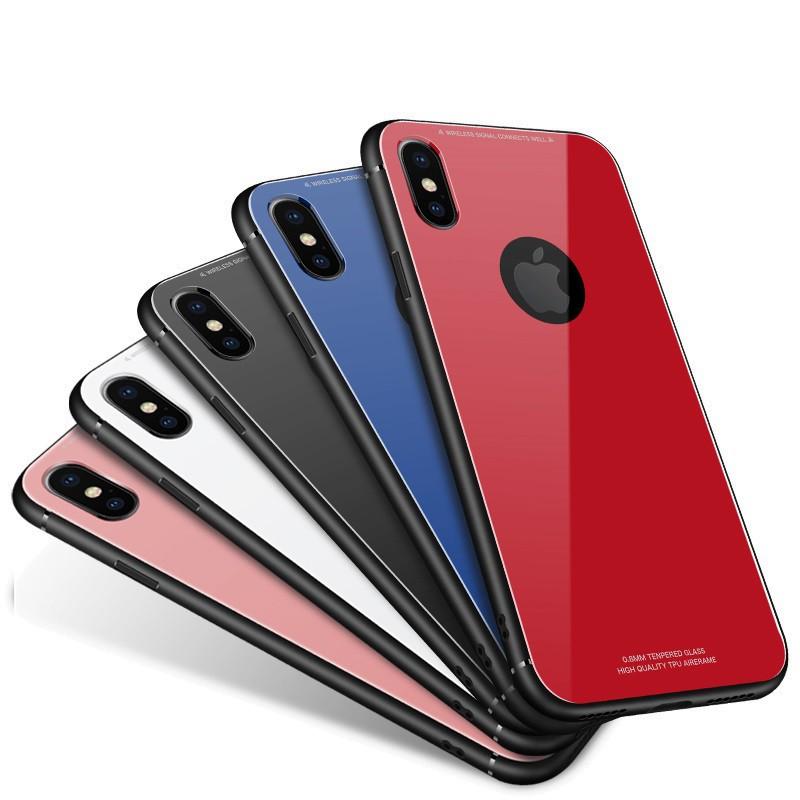 iPhone 上色玻璃殼 防刮防摔 保護殼 玻璃手機殼 玻璃殼 鋼化背殼 超薄 玻璃殼 用於 iX XS i8 i7