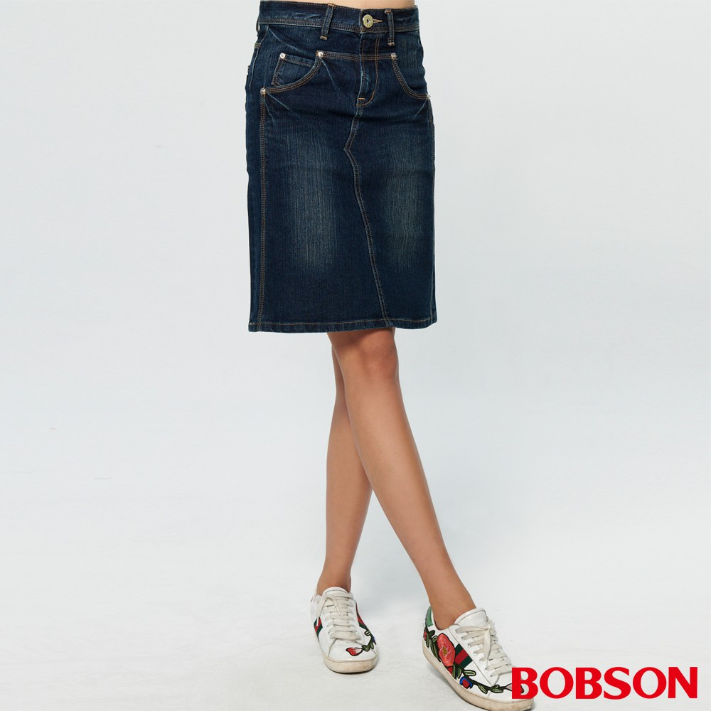 BOBSON 女款剪接牛仔中長裙(D097-53)