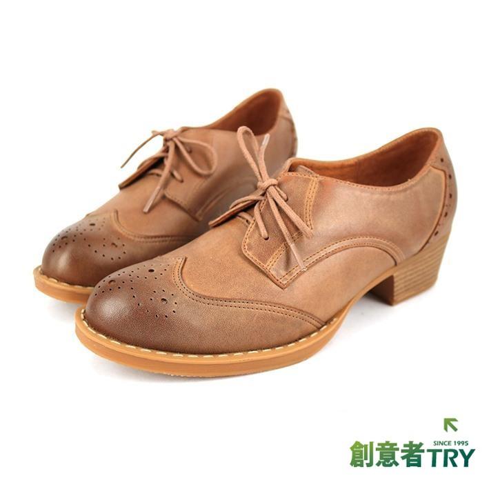 【創意者鞋坊】MIT真皮沖孔手工牛津鞋(女) - 棕色 / 原價2780元