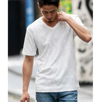 [マルイ]【セール】ボタニカル柄 パイル ジャカード / VネックTシャツ(半袖)/A・S・M(A.S.M)