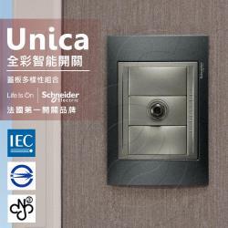 法國Schneider Unica Top埋入式高屏蔽電視插座_(金屬灰外框)