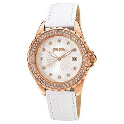 ◎原廠公司貨,國際精品 ◎經典大三針,日期顯示窗 ◎晶鑽時標與錶框設計品牌:FolliFollie型號:WF13B071STS-WH使用族群:女錶手錶特性:三針錶帶材質:皮革錶帶錶帶材質說明:皮革錶殼
