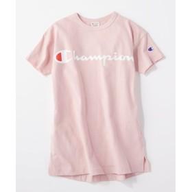Champion 筆記体ロゴプリントワンピースTシャツ キッズ ライトピンク