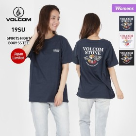 VOLCOM/ボルコム レディース 半袖 Tシャツ ティーシャツ ロゴ 柄 クルーネック 白 ホワイト 黒 ブラック B35219JB