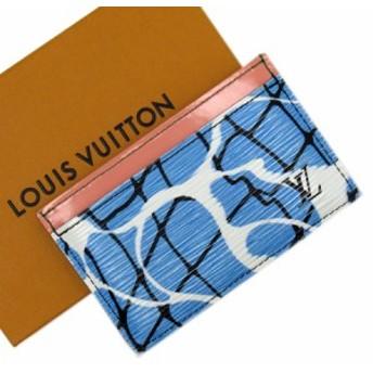 【おすすめ】【中古】ルイヴィトン カードケース 定期入れ パスケース ポルトカルトサーンプル エピ レディース ブルーxピンク x2851