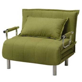 折りたたみソファーベッド/カウチソファー [シングルサイズ] 肘付き 6段階リクライニング 『ビータII』 抹茶グリーン