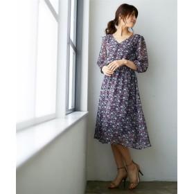プリントシフォン7分袖ワンピース (ワンピース),dress