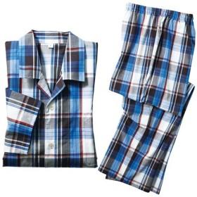 【レディース】 綿100%シャツパジャマ(男女兼用) - セシール ■カラー:ブルー ■サイズ:3L,5L,L,LL,M