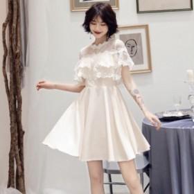 ティアードレース ワンカラードレス かわいい ワンピースドレス 大きいサイズ パーティードレス 袖付き ミニ xl