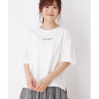 3can4on / サンカンシオン ロゴ刺繍入りビックTシャツ