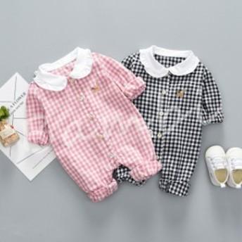 ベビー服 カバーオール ロンパース フード付き 赤ちゃん 著ぐるみ 長袖 クマ ブラウン 女の子