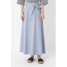 HUMAN WOMAN コットントップODツイルフレアスカート ひざ丈スカート,スモークブルー