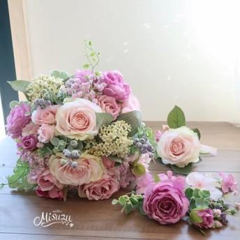 misuzu 優しいピンク ラベンダー ローズ&ベリー クラッチブーケ ヘア ブトニア 3点セット123