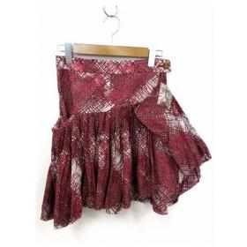 未使用品 ヴィヴィアン Vivienne Westwood RED LABEL アシメントリ— デザイン スカート 総柄 膝丈 グレー レッド 2 ボトムス レディース 【中古】