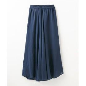 秋まで長く使える!ギャザーたっぷりスラブマキシ丈スカート (ロング丈・マキシ丈スカート),skirt