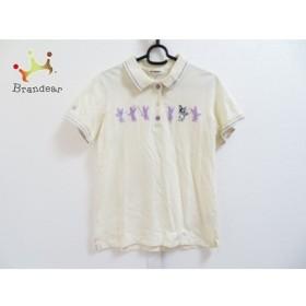 ミエコウエサコ 半袖ポロシャツ サイズ42 L レディース アイボリー×パープル×マルチ 刺繍 新着 20190620