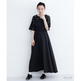 (merlot/メルロー)【plus】ヨークフリルレースワンピース/レディース ブラック